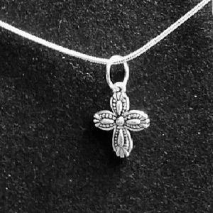 Floral Design Cross .925 Sterling Silver Necklace